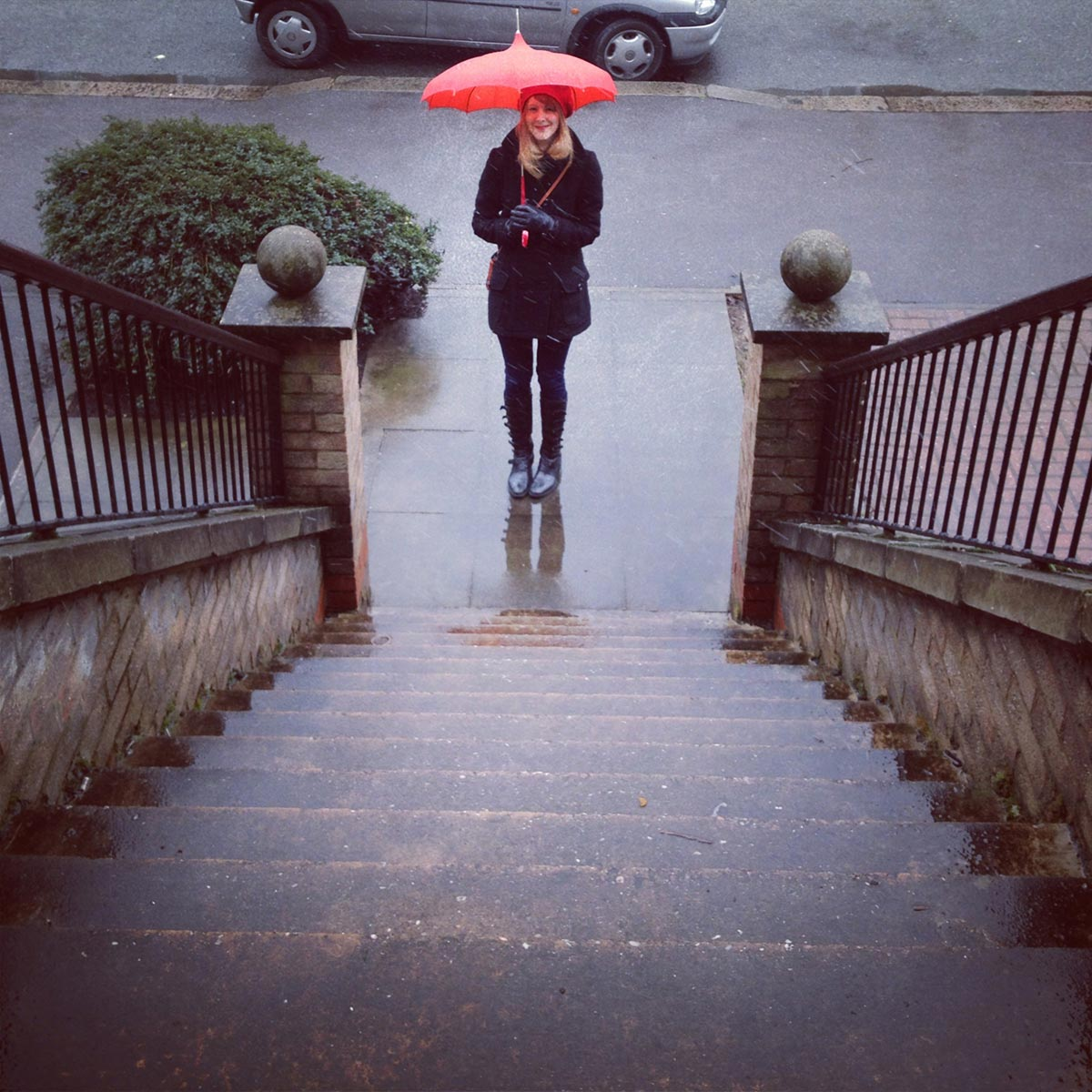 Lucy and her red umbrella, Coppermill Lane