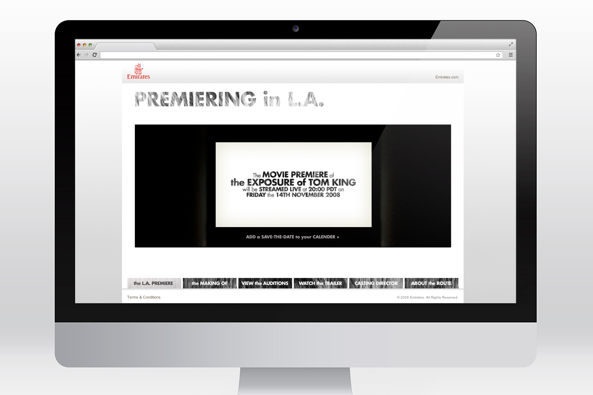 Emirates - L.A. Premiere website